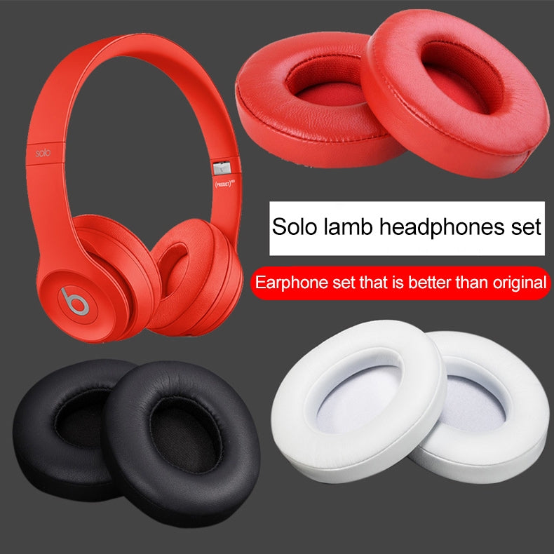 1 Pair Leather Headphone Protective Case for Beats Solo2.0 / Solo3.0, Wired Version (Black)