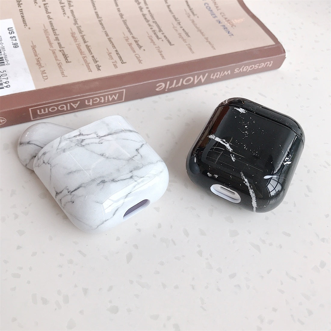 Marble Pattern Wireless Earphones Charging Box Protective Case for Apple AirPods 1/2