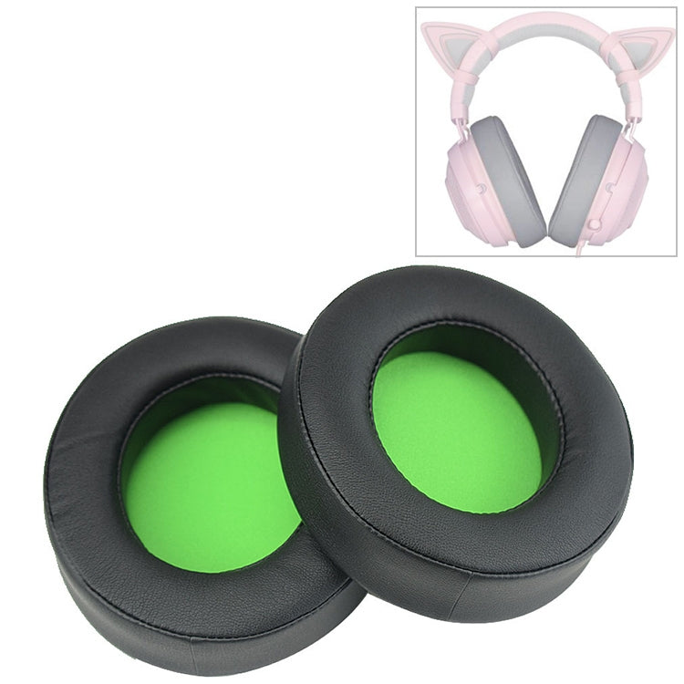 2 PCS For Razer Kraken 7.1 V2 Pro Headphone Cushion Sponge Green Net Cover Earmuffs Replacement Earpads