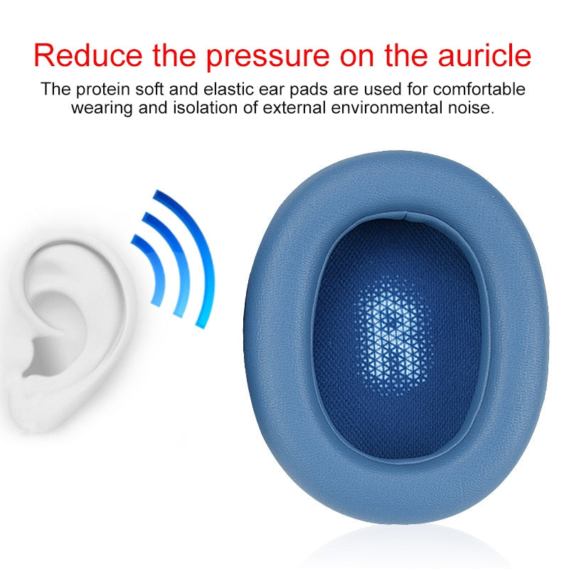 For JBL Everest Elite 750NC Headphones Imitation Leather + Foam Soft Earphone Protective Cover Earmuffs, One Pair (Blue)