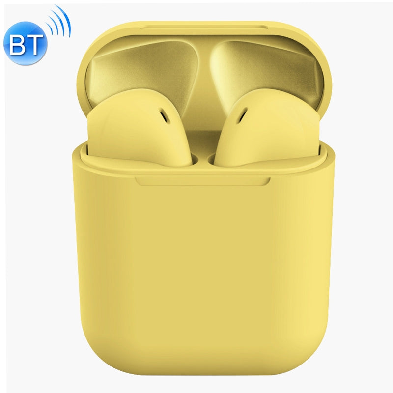 InPods 12 HiFi Wireless Bluetooth 5.0 Earphones with Charging Case, Support Touch & Voice Function (Yellow)