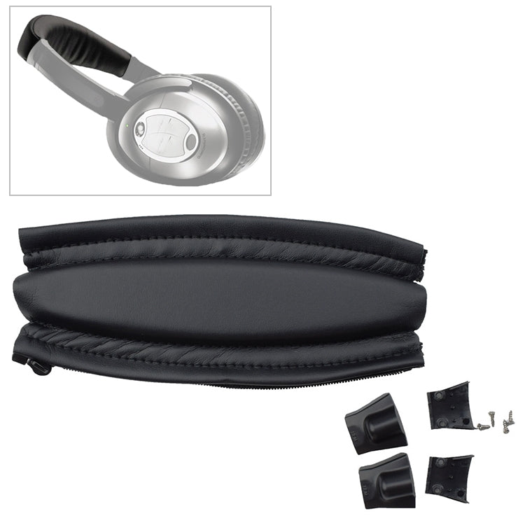 For Bose QC2 / QC15 Headphone Head Beam Headgear Leather Cover with Plastic Parts + Screws