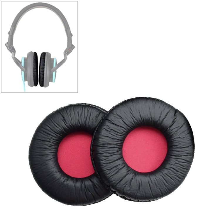 2 PCS For SONY MDR-V55 Earphone Cushion Leather Cover Earmuffs Replacement Earpads (Red)