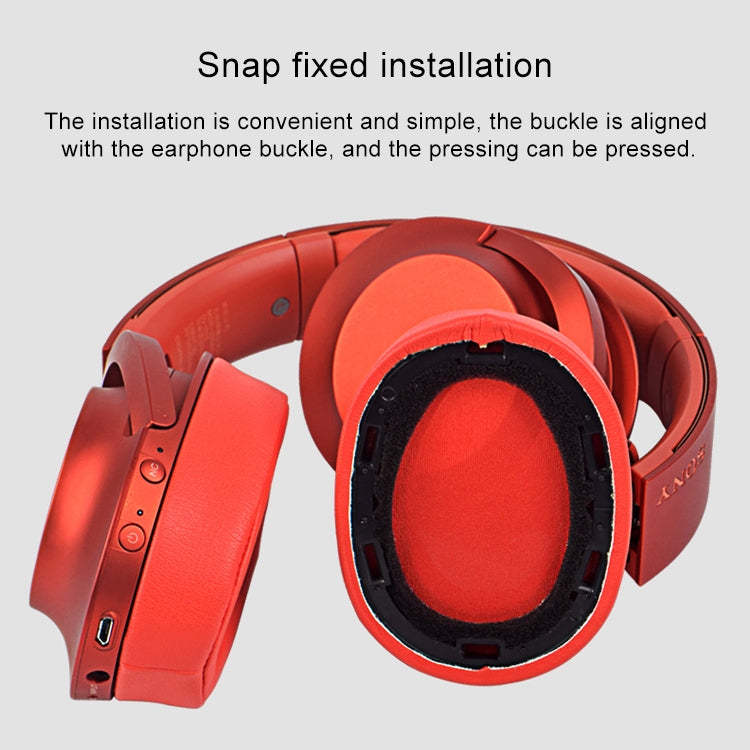 1 Pair Sponge Headphone Protective Case for Sony MDR-100ABN / WH-H900N (Twilight red)
