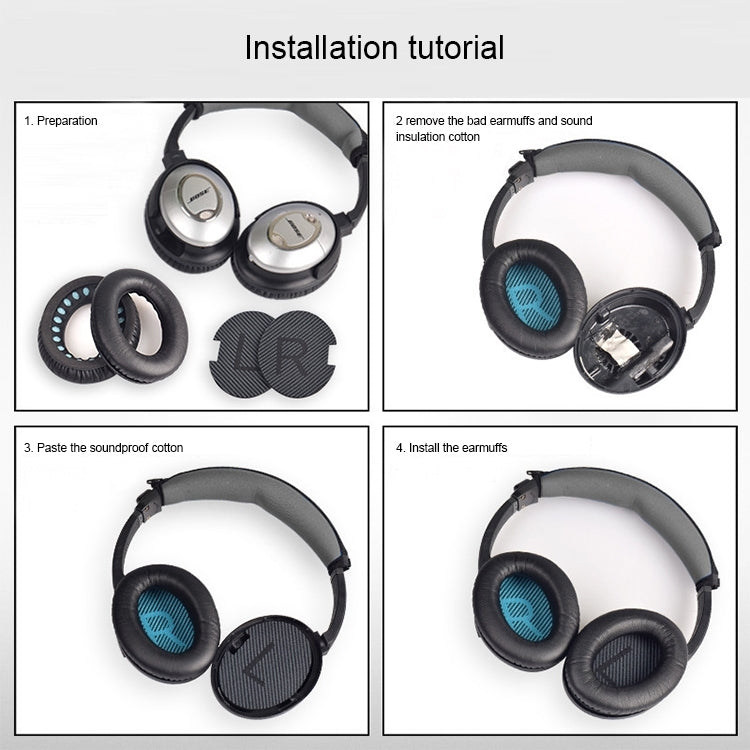 1 Pair Soft Earmuff Headphone Jacket with Black Soundproof Cotton for BOSE QC2 / QC15 / AE2 / QC25 (Dark Grey)