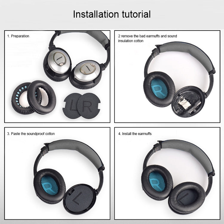 1 Pair Soft Earmuff Headphone Jacket with Blue LR Cotton for BOSE QC2 / QC15 / AE2 / QC25