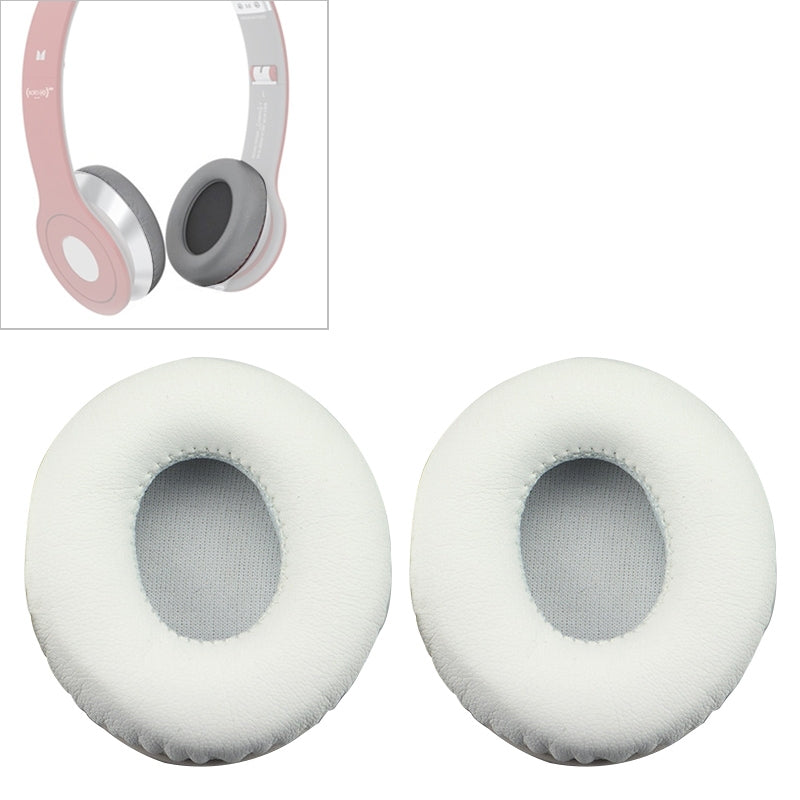 2 PCS For Beats Solo HD / Solo 1.0 Headphone Protective Leather Cover Sponge Earmuffs (White)