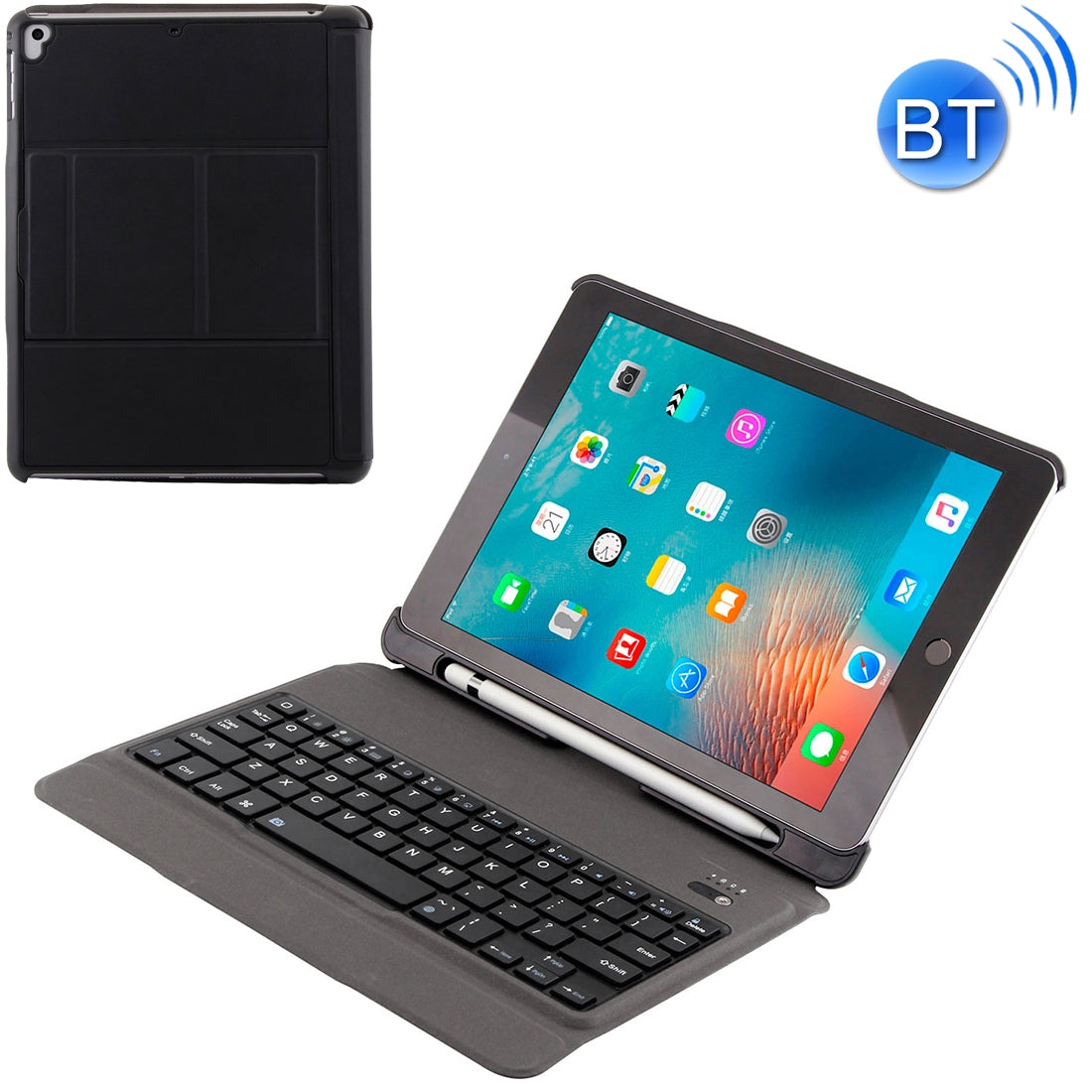 T-201 Detachable Bluetooth 3.0 Ultra-thin Keyboard +  Lambskin Texture Leather Case for iPad Air / Air 2 / iPad Pro 9.7 inch, Support Multi-angle Adjustment (Black)