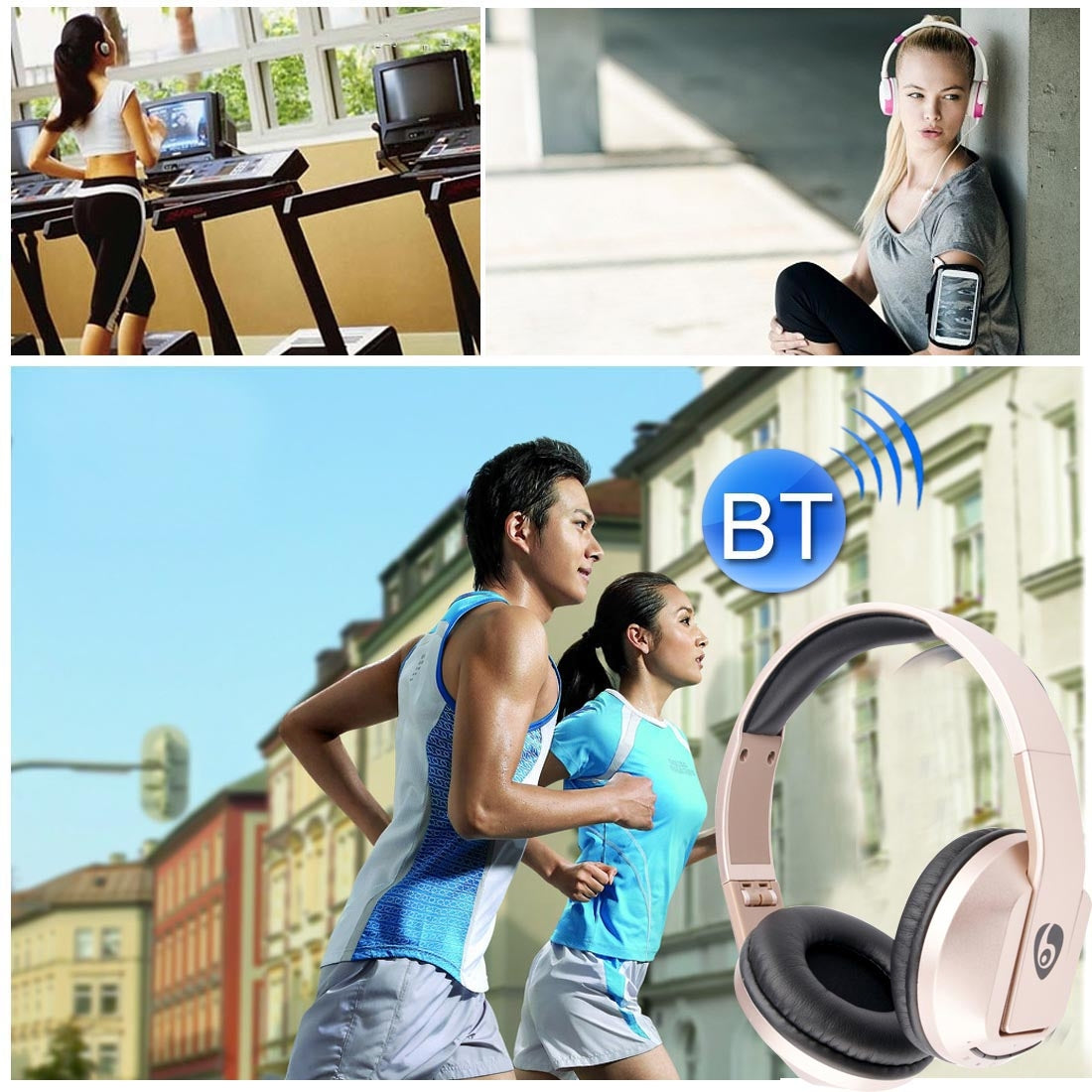 OVLENG S77 Headband Universal Folding Bluetooth Headset with Handsfree Call Function , for iPhone / Samsung / LG / HTC / Nokia / Blackberry Mobile Phone(Gold)