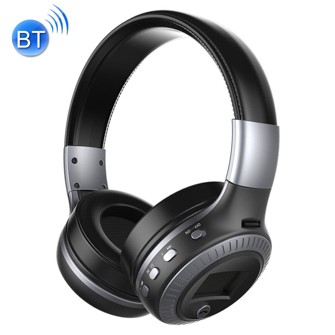 Zealot B19 Folding Headband Bluetooth Stereo Music Headset with Display, For iPhone, Galaxy, Huawei, Xiaomi, LG, HTC and Other Smart Phones(Grey)