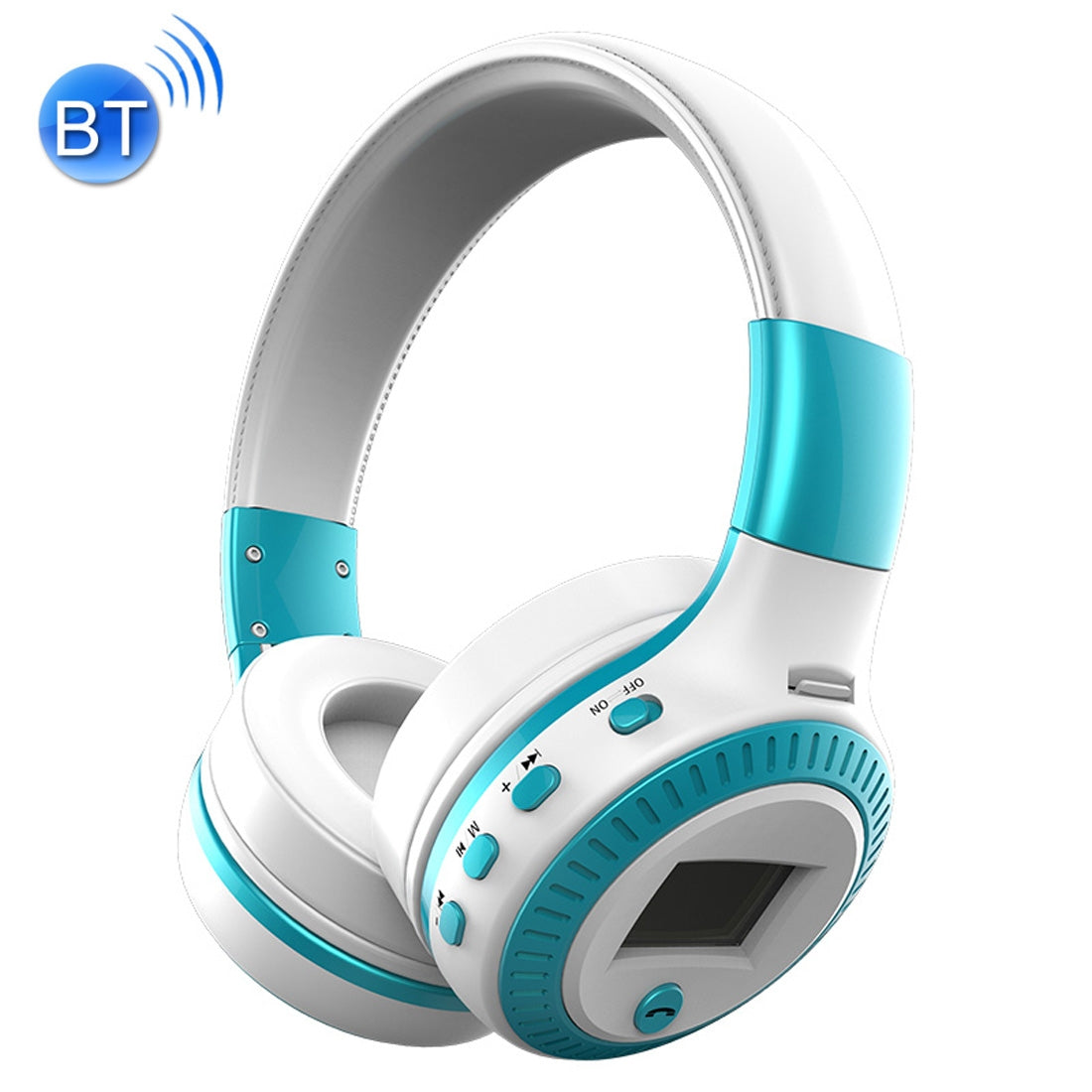 Zealot B19 Folding Headband Bluetooth Stereo Music Headset with Display, For iPhone, Galaxy, Huawei, Xiaomi, LG, HTC and Other Smart Phones(Blue)