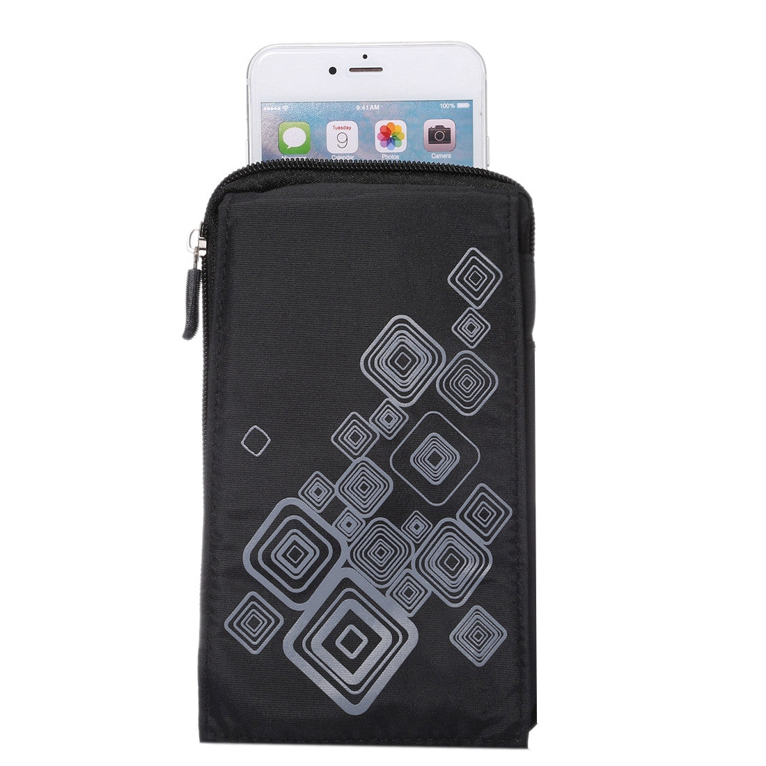 6.4 inch Multifunctional Square Pattern Canvas Sports Storage Waist Packs / Phone Cases / Hiking Bag / Camping Bag with Hanging Hook for iPhone 6S Plus / 7 Plus / Galaxy S7 Edge / Galaxy Note 8(Black)
