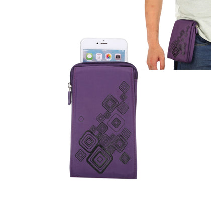 6.4 inch Multifunctional Square Pattern Canvas Sports Storage Waist Packs / Phone Cases / Hiking Bag / Camping Bag with Hanging Hook for iPhone 6S Plus / 7 Plus / Galaxy S7 Edge / Galaxy Note 8(Purple)