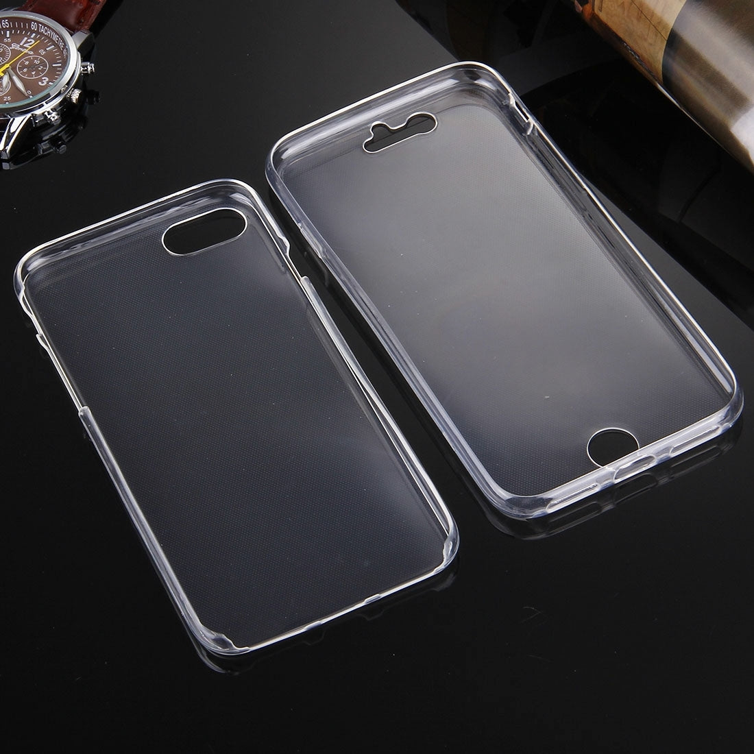 For  iPhone 8 & 7  0.75mm Double-sided Ultra-thin Transparent TPU Protective Case(Transparent)