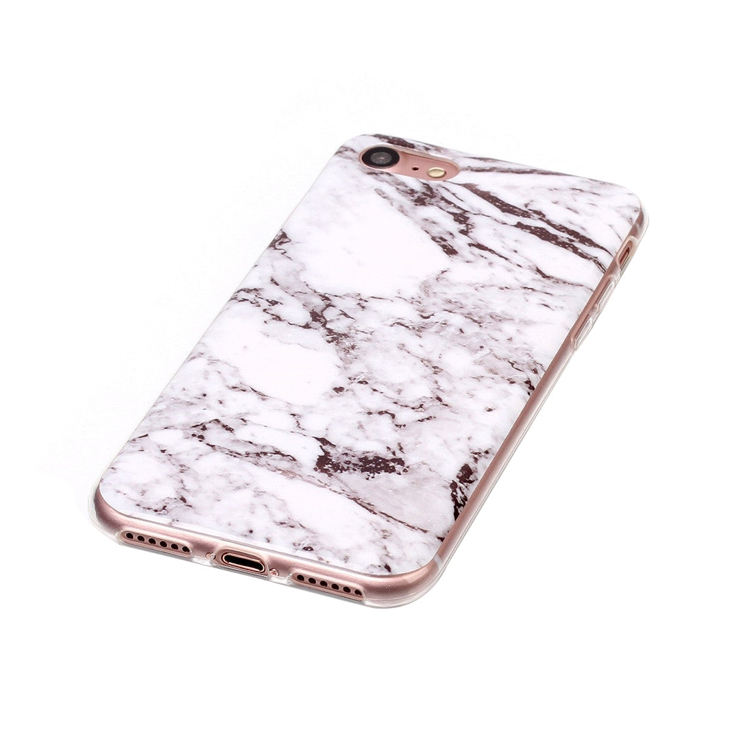 For  iPhone 8 & 7  White Marbling Pattern Soft TPU Protective Back Cover Case