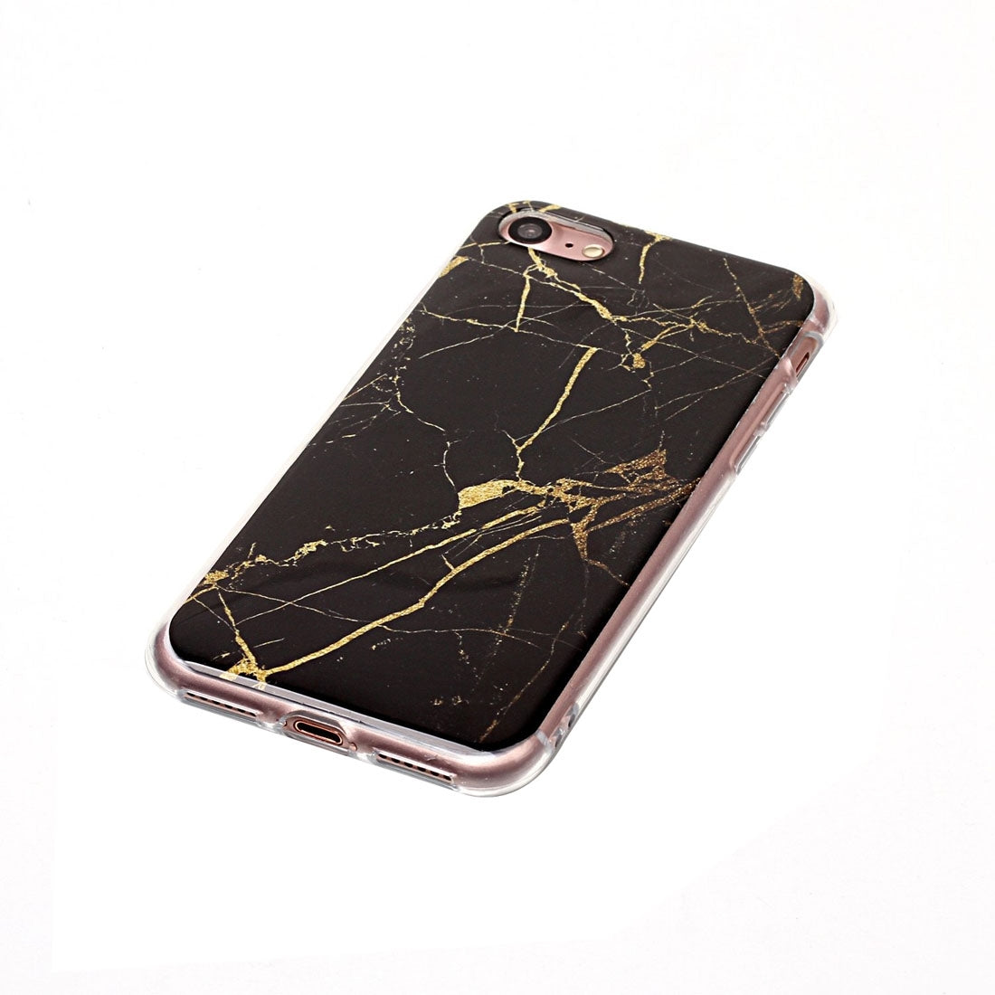 For iPhone 8 & 7 Black Marble Pattern Soft TPU Protective Case