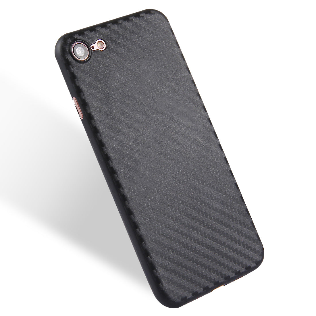 For  iPhone 8 & 7  Carbon Fibre Texture PP Protective Back Cover Case(Black)