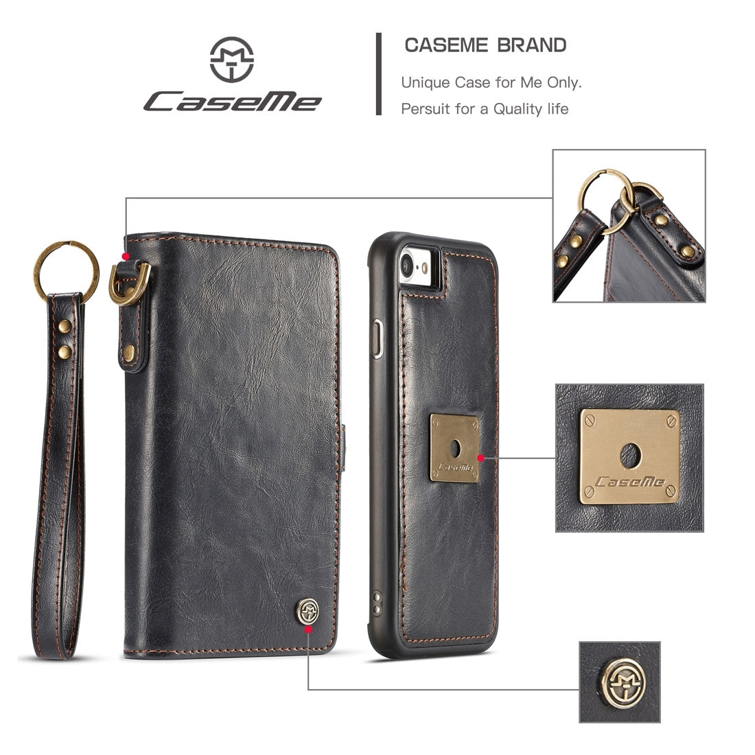 CaseMe for  iPhone 8 & 7  TPU + PC Detachable Magnetic Horizontal Flip Leather Case with Card Slots & Wallet & Photo Frame & Storage Cutouts & Metal Loop Lanyard(Black)