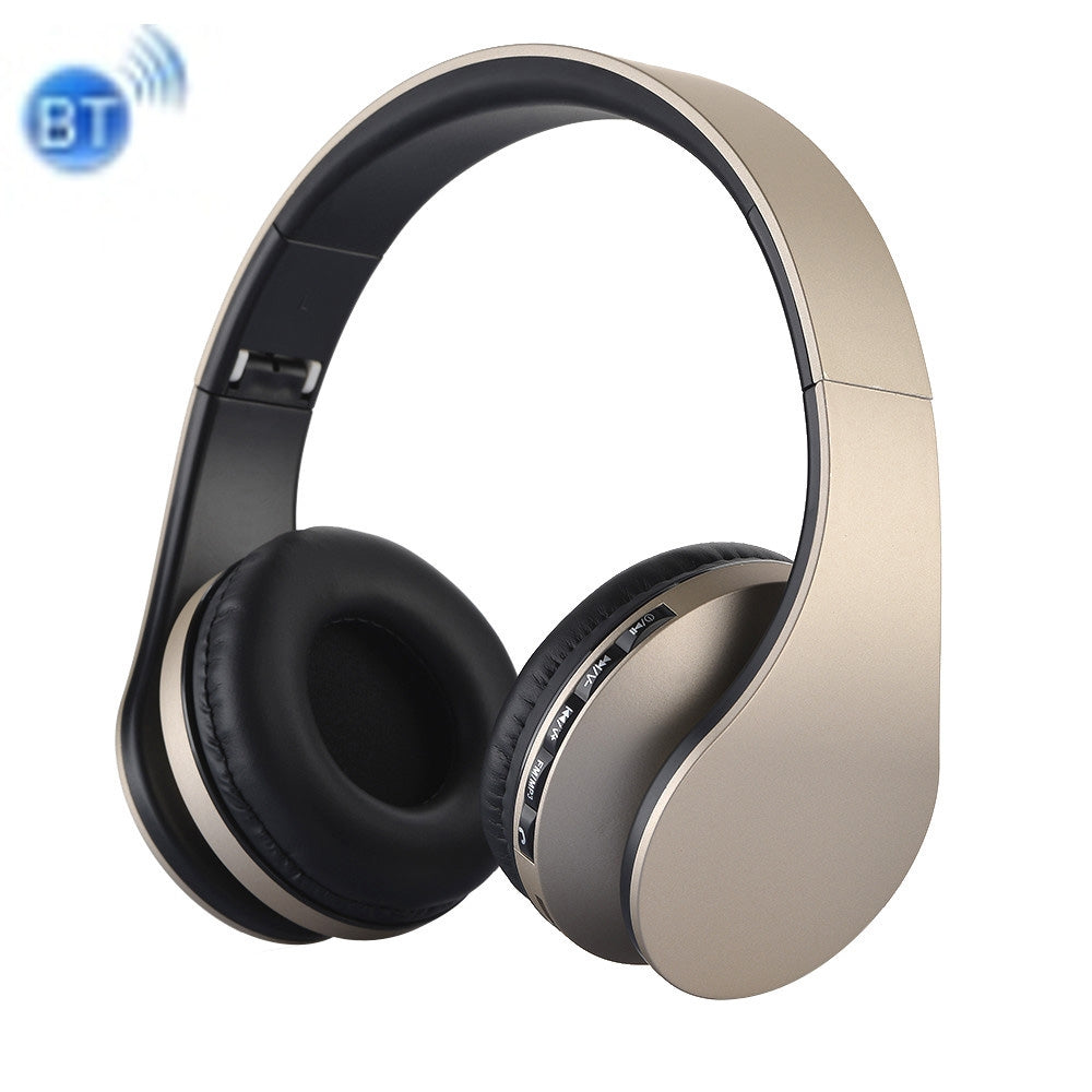 BTH-811 Folding Stereo Wireless  Bluetooth Headphone Headset with MP3 Player FM Radio, for Xiaomi, iPhone, iPad, iPod, Samsung, HTC, Sony, Huawei and Other Audio Devices(Gold)