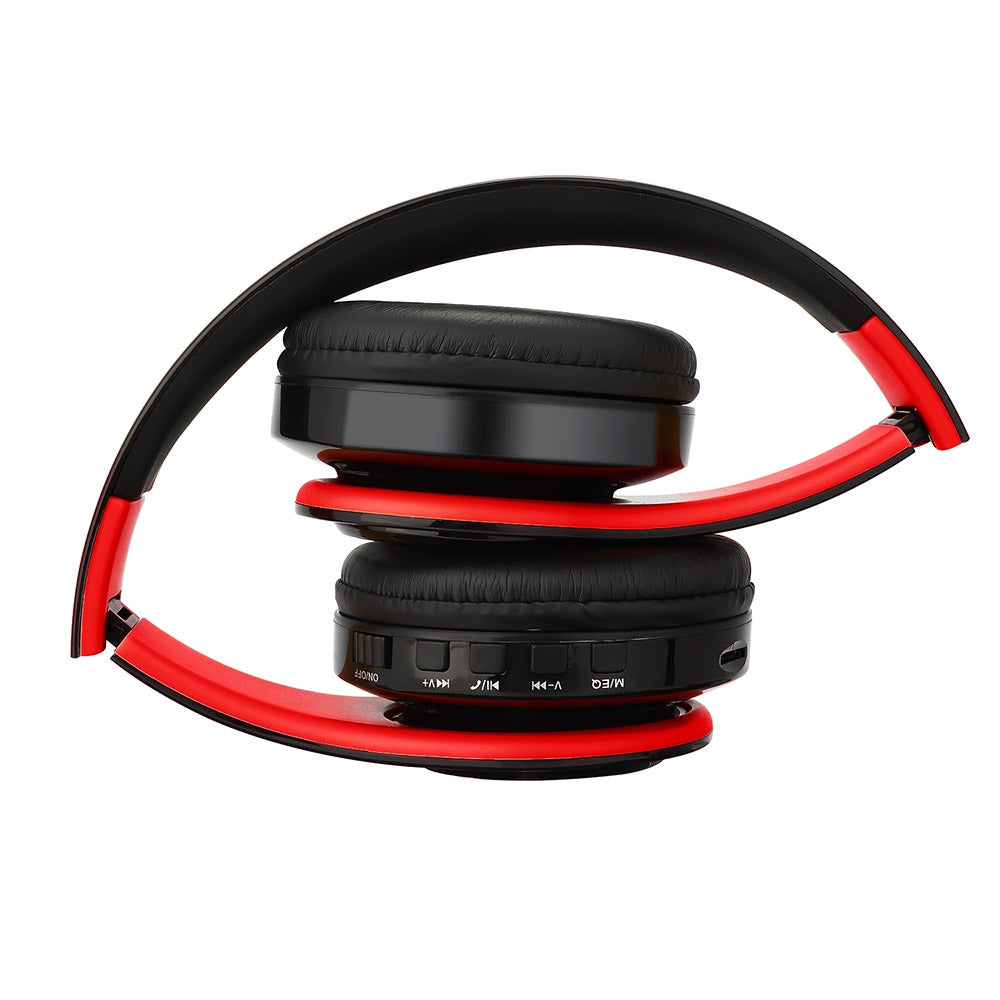 BTH-818 Headband Folding Stereo Wireless Bluetooth Headphone Headset, for iPhone, iPad, iPod, Samsung, HTC, Sony, Huawei, Xiaomi and other Audio Devices (Black+Red)
