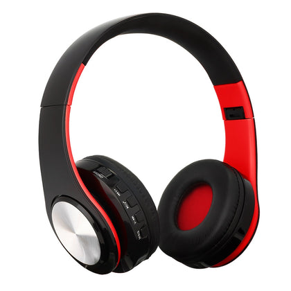 BTH-818 Headband Folding Stereo Wireless Bluetooth Headphone Headset, for iPhone, iPad, iPod, Samsung, HTC, Sony, Huawei, Xiaomi and other Audio Devices (Silvery+Red)