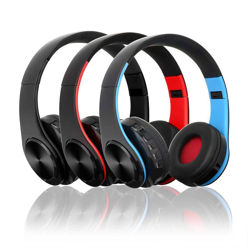 BTH-818 Headband Folding Stereo Wireless Bluetooth Headphone Headset, for iPhone, iPad, iPod, Samsung, HTC, Sony, Huawei, Xiaomi and other Audio Devices (Silvery+Blue)