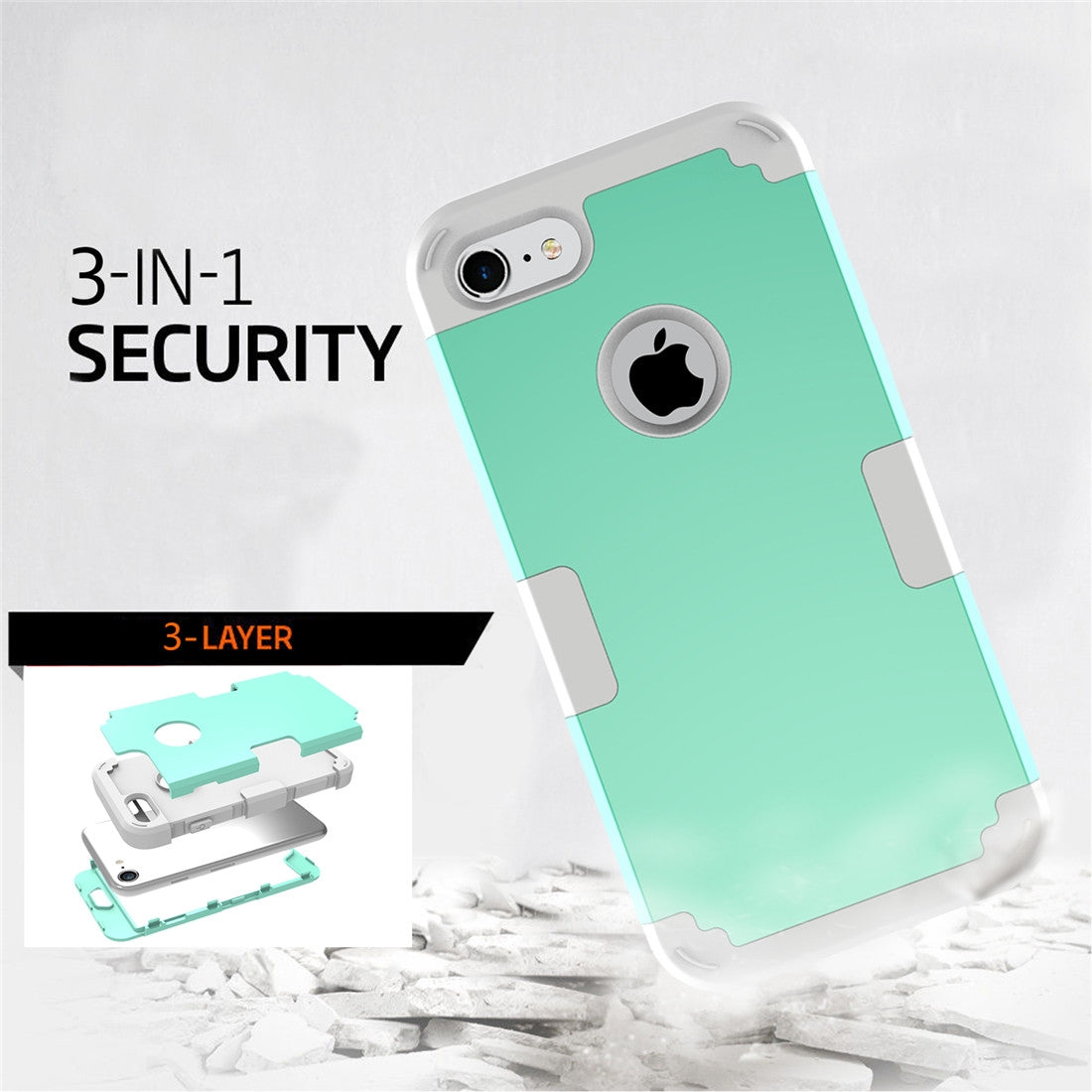 For  iPhone 8 & 7  Separable contrast color PC + Silicone Combination Case(Green)