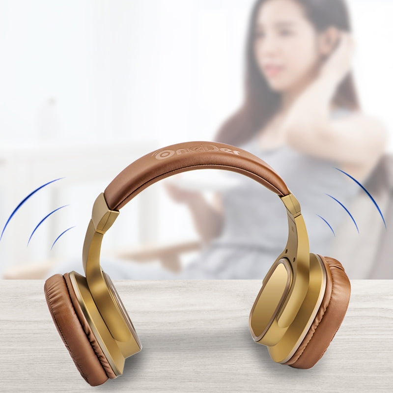OneDer S2 Head-mounted Wireless Bluetooth Version 5.0 Headset Headphones, with Mic, Handsfree, TF Card, USB Drive, AUX, FM Function (Brown)