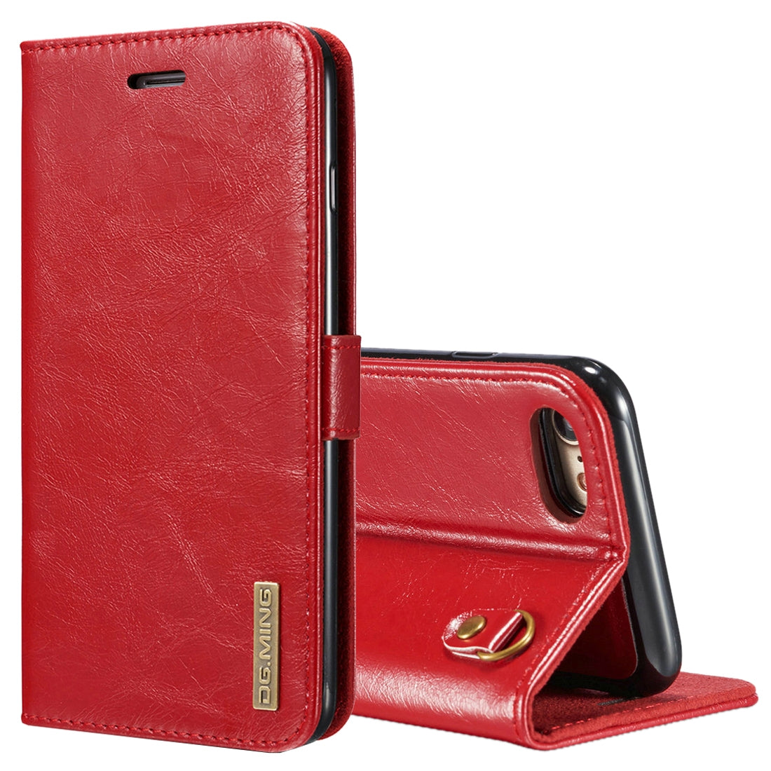 DG.MING for iPhone 8 & 7 Genuine Leather Horizontal Flip Detachable Magnetic Protective Case with Holder & Card Slots & Lanyard (Red)