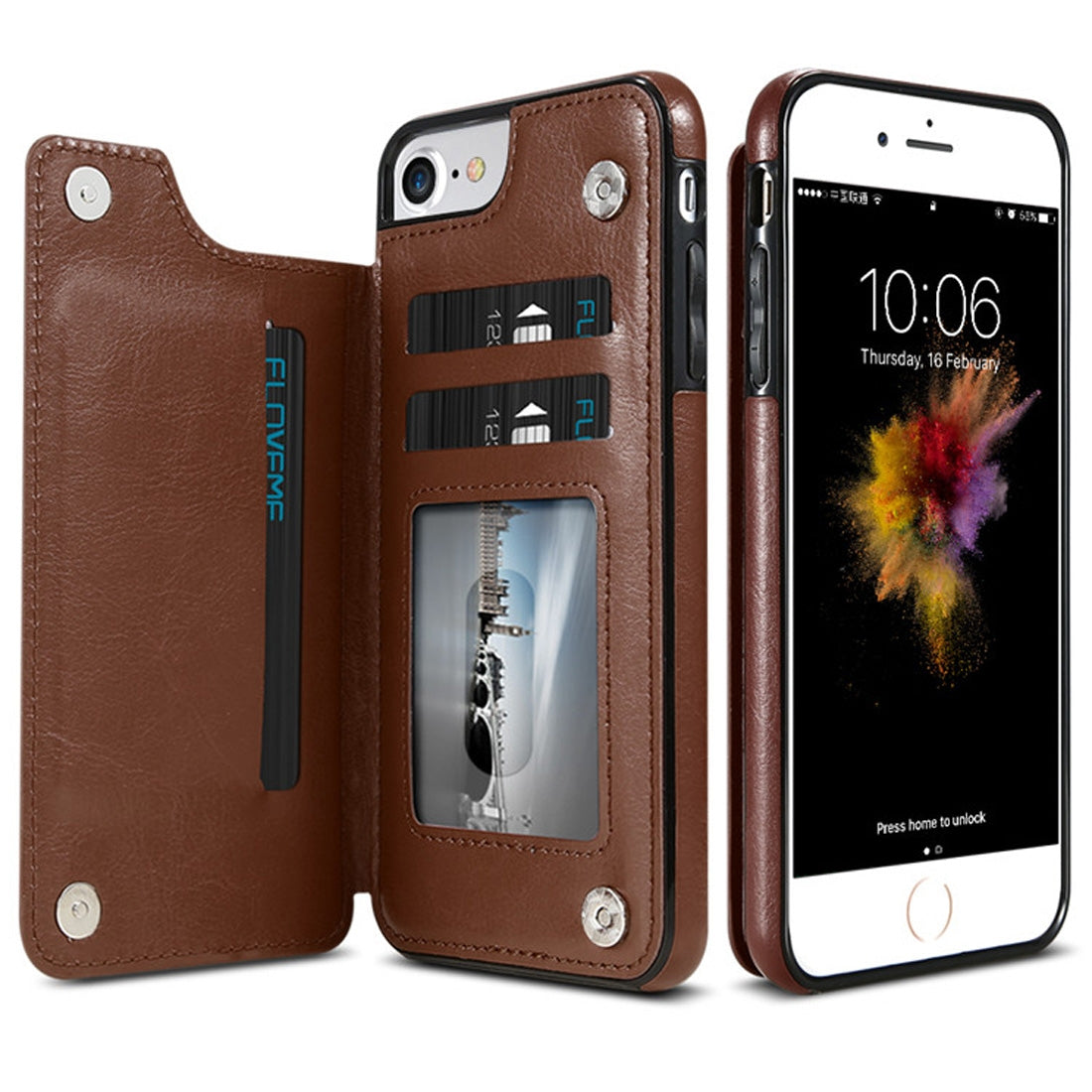 FLOVEME for  iPhone 8 & 7 Crazy Horse Texture  Horizontal Flip Leather Protective Case with Card Slots & Holder(Coffee)
