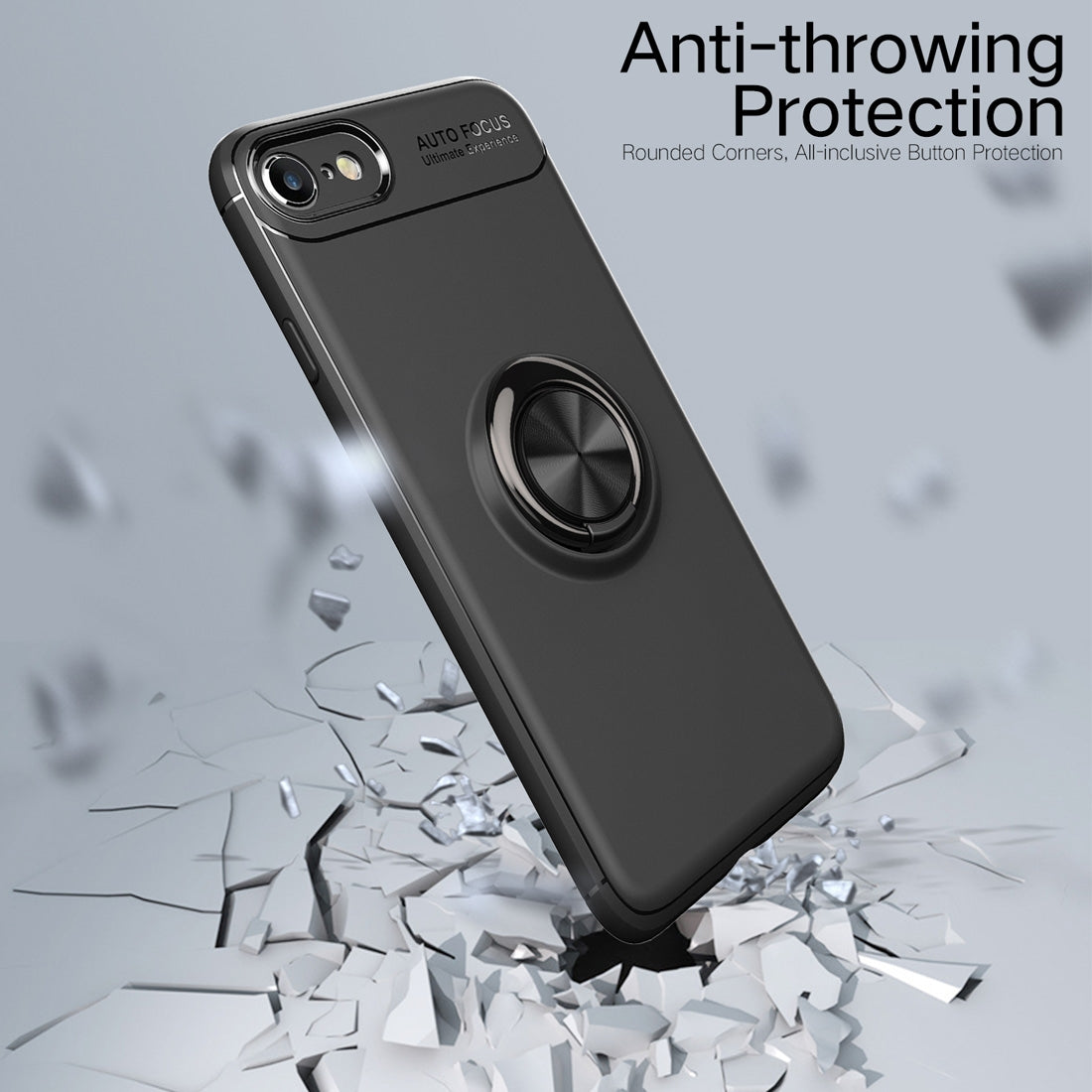 Metal Ring Holder 360 Degree Rotating TPU Case for iPhone 8 & 7 (Black)