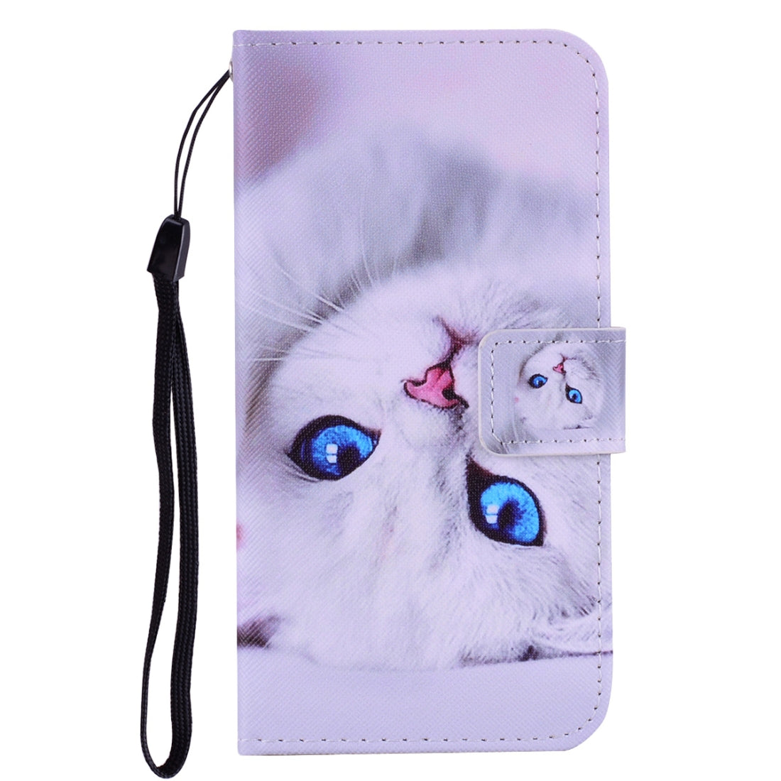 White Cat Pattern Colored Drawing Horizontal Flip Leather Case for iPhone 8 & 7, with Holder & Card Slots & Wallet & Lanyard