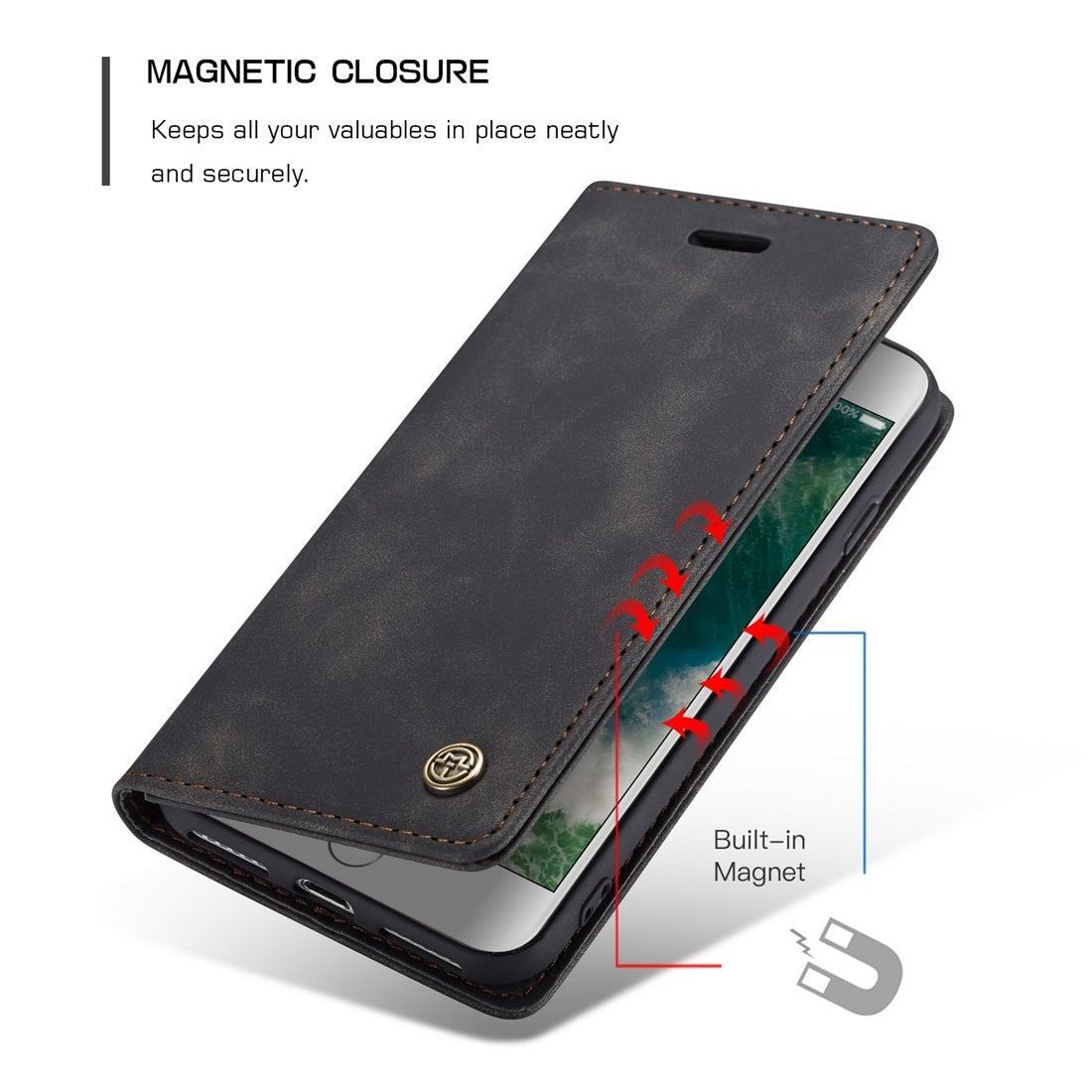 CaseMe-013 Multifunctional Retro Frosted Horizontal Flip Leather Case for iPhone 7 / 8, with Card Slot & Holder & Wallet(Black)