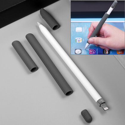 For Apple Pencil Creative 4 in 1 Anti-lost (Pencil Cap + Pencil Point + 2*Penholder Cover) TouchPen Silicone Protective Set(Grey)