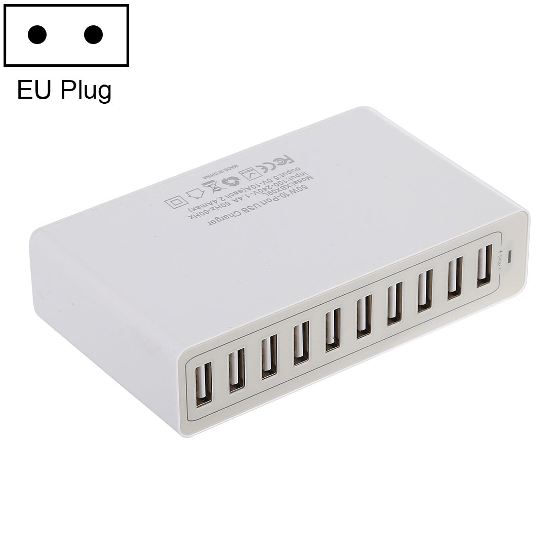 XBX09L 50W 5V 2.4A 10 USB Ports Quick Charger Travel Charger, EU Plug(White)