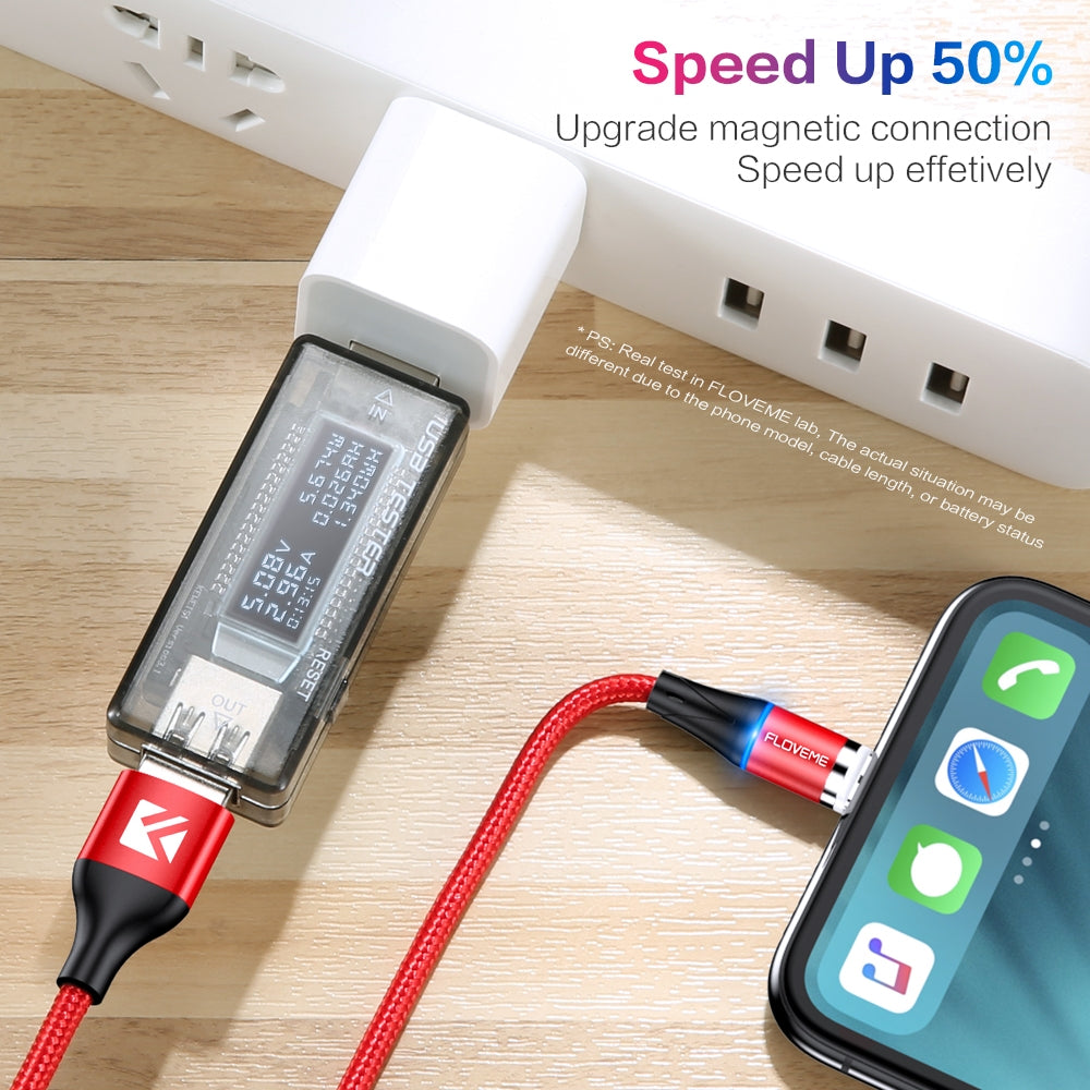 FLOVEME 1m USB-C / Type-C + Micro USB + 8 Pin to USB Round Head Magnetic 3A Fast Charging & Data Cable(Silver)