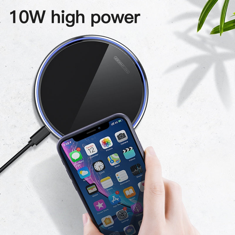 KUULAA KL-CD03 Portable Acrylic Mirror Fast Charging Wireless Charger (Black)