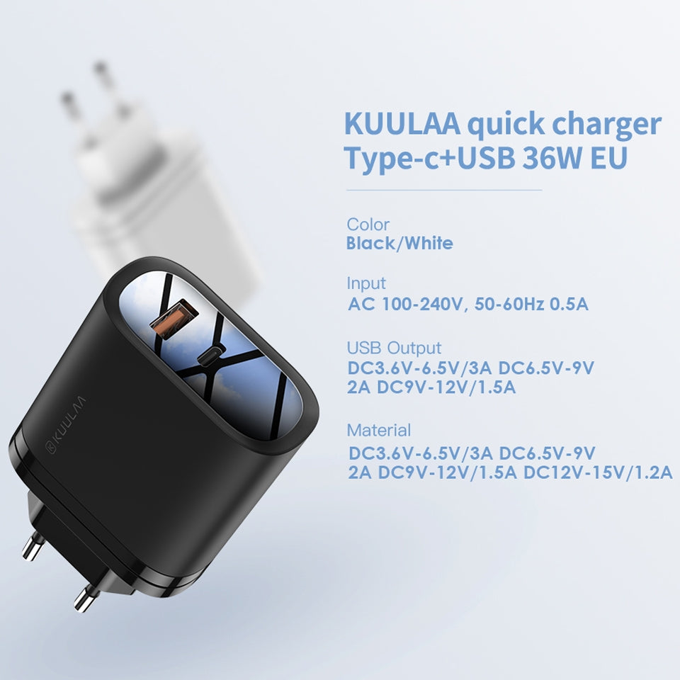 KUULAA KL-CD12 36W Type-C / USB-C + USB QC3.0 Portable Quick Charging Travel Charger Power Adapter, UK Plug (Black)