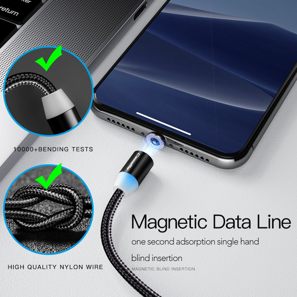 CaseMe 3 in 1 Type-C / 8 Pin / Micro USB to USB Magnetic Charging Cable for Series 1, Length : 1m(Black)