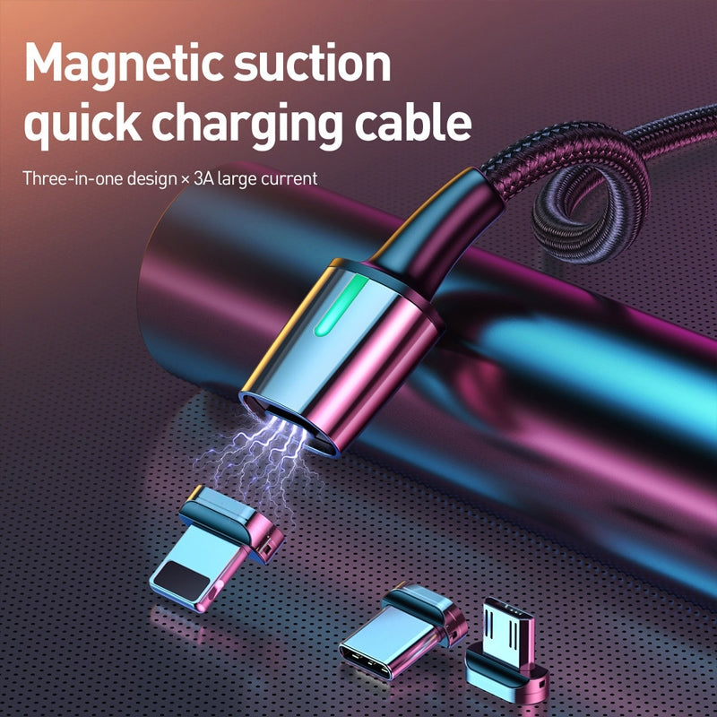 Baseus 2.4A USB to 8 Pin + USB-C / Type-C + Micro USB Zinc Magnetic Charging Sync Data Cable, Length: 1m