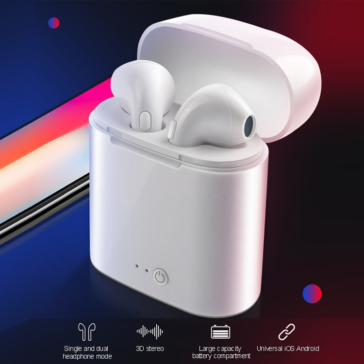i7S TWS Universal Dual Wireless Bluetooth 5.0 Earbuds Stereo Headset In-Ear Earphone with Charging Box, Automatic Dual Ears Pairing(Black)