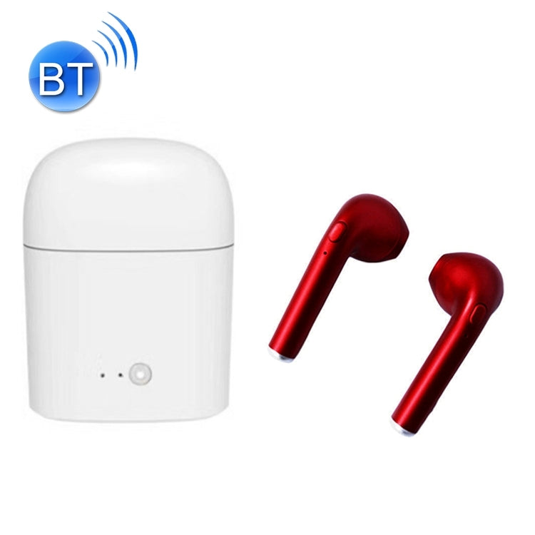i7S TWS Universal Dual Wireless Bluetooth 5.0 Earbuds Stereo Headset In-Ear Earphone with Charging Box, Automatic Dual Ears Pairing(Red)