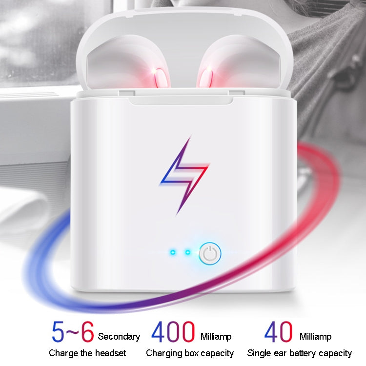 i7S TWS Universal Dual Wireless Bluetooth 5.0 Earbuds Stereo Headset In-Ear Earphone with Charging Box, Automatic Dual Ears Pairing(White)
