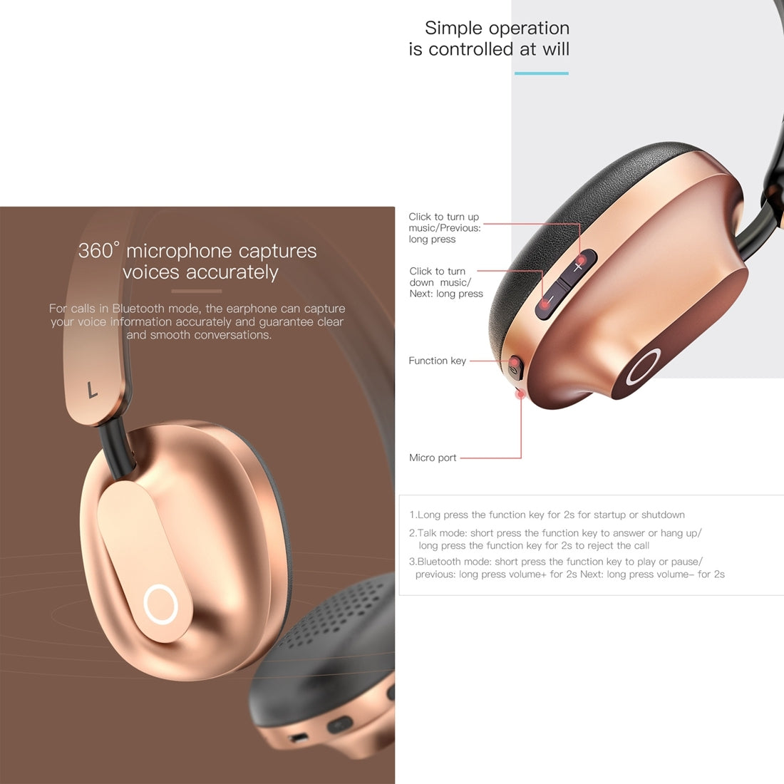 Baseus Encok D01 Headband Bluetooth / wired earphone dual mode Headphone Headset with Mic, for iPhone, iPad, iPod, Samsung, HTC, Sony, Huawei, Xiaomi and other Audio Devices(Tarnish)