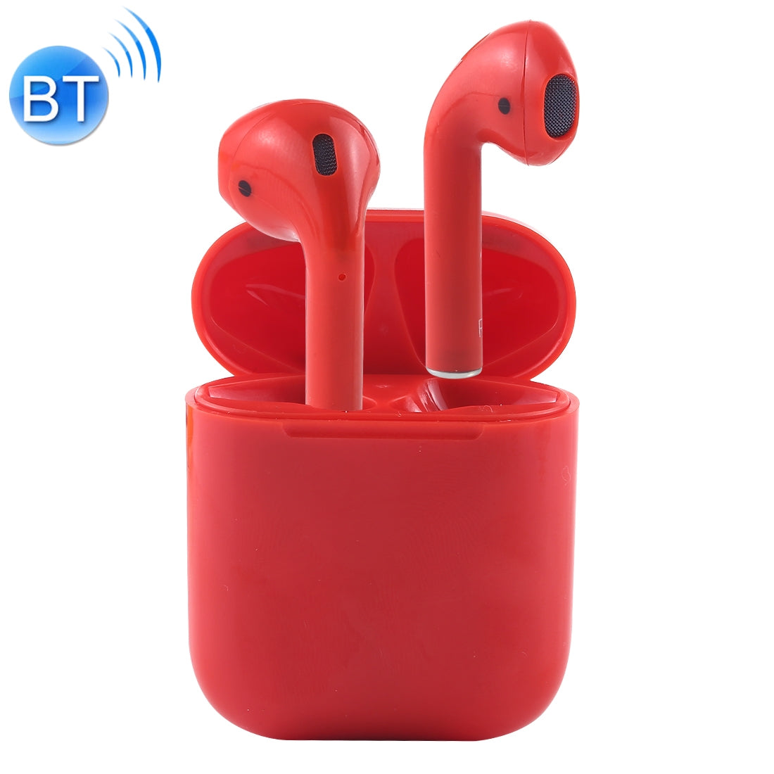 i12-XS TWS Binaural Calls Wireless Bluetooth Earphones with Charging Case, Support Touch Calling 5.0(Red)