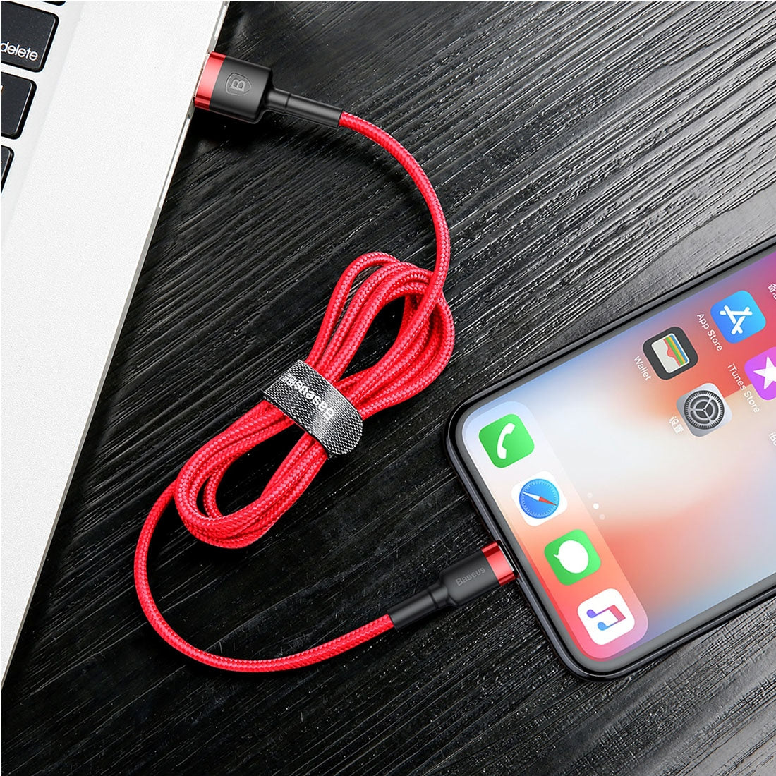 Baseus CALKLF-A09 2.4A 0.5m High Density Nylon Weave USB Cable for Apple 8 Pin, For iPhone XR / iPhone XS MAX / iPhone X & XS / iPhone 8 & 8 Plus / iPhone 7 & 7 Plus / iPhone 6 & 6s & 6 Plus & 6s Plus / iPad(Red)