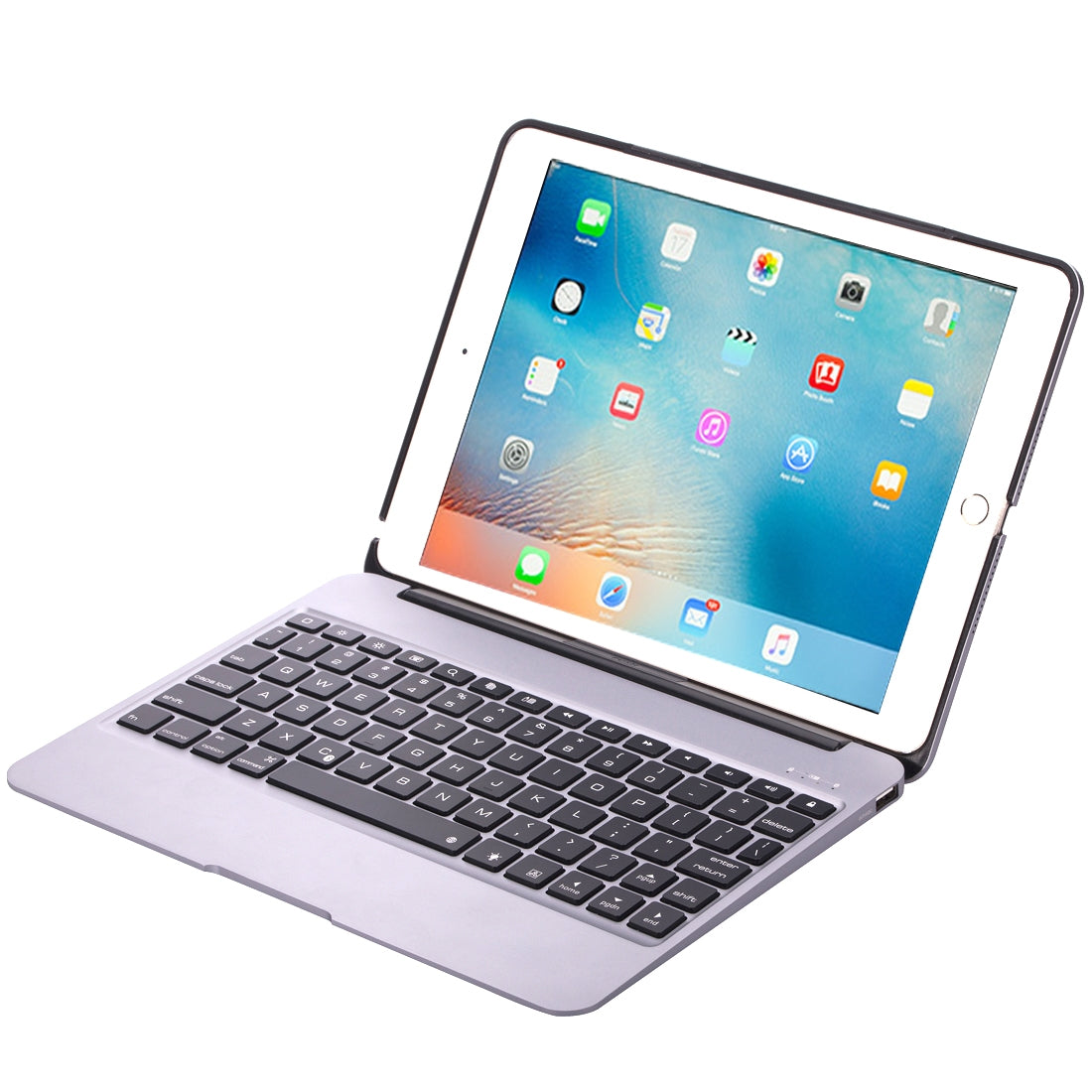 F06 for iPad Pro 9.7 inch / iPad Air 2 Portable Foldable Aluminium Alloy Wireless Bluetooth Backlight Keyboard(Silver)
