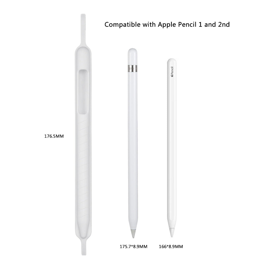 Apple Pencil Shockproof Soft Silicone Protective Cap Holder Sleeve Pouch Cover for iPad Pro 9.7 / 10.5 / 11 / 12.9 Pencil Accessories (White)