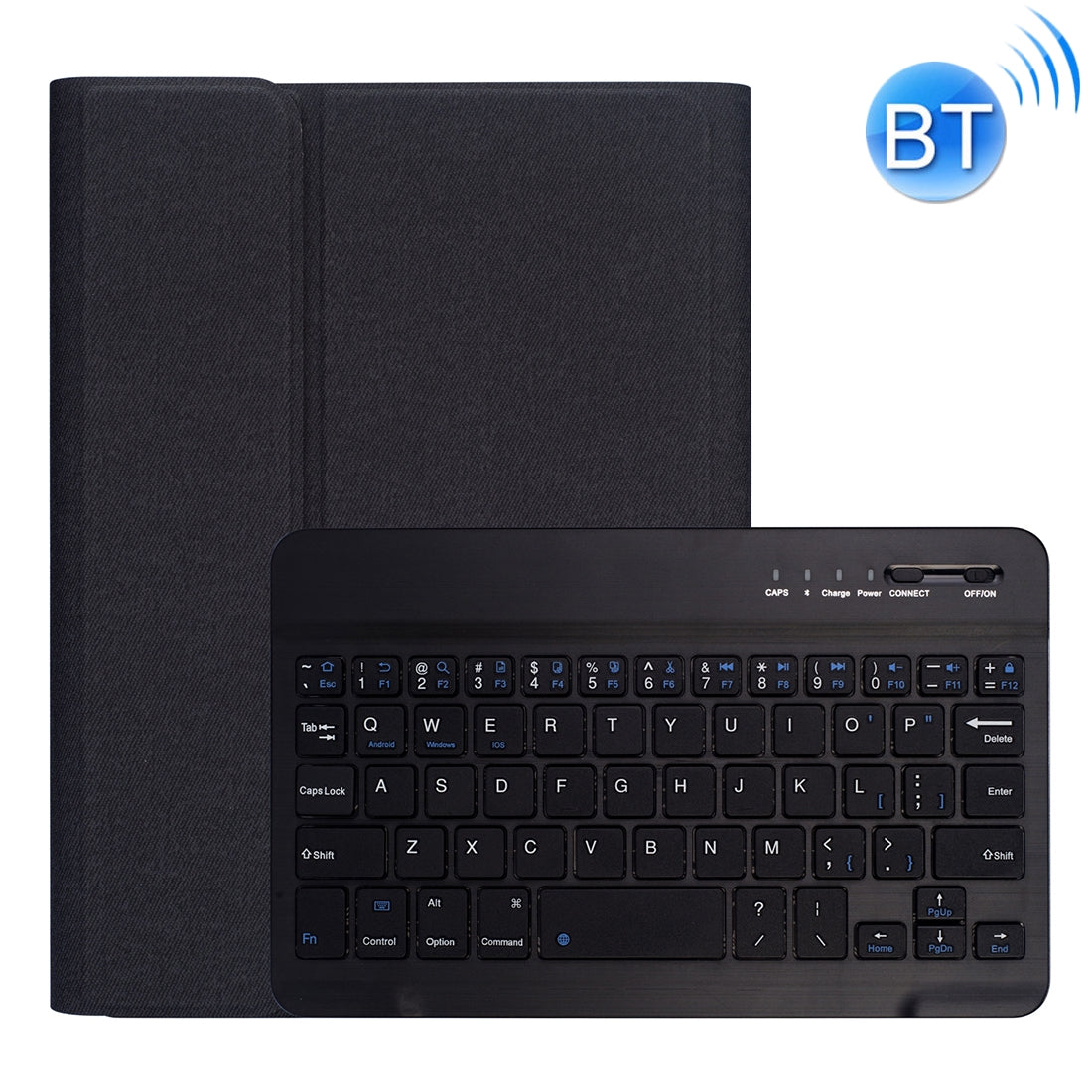 RK405 For iPad mini 5 / 4 Silk Texture Detachable Plastic Bluetooth Keyboard Leather Cover with Pen Slot & Stand Function(Black)