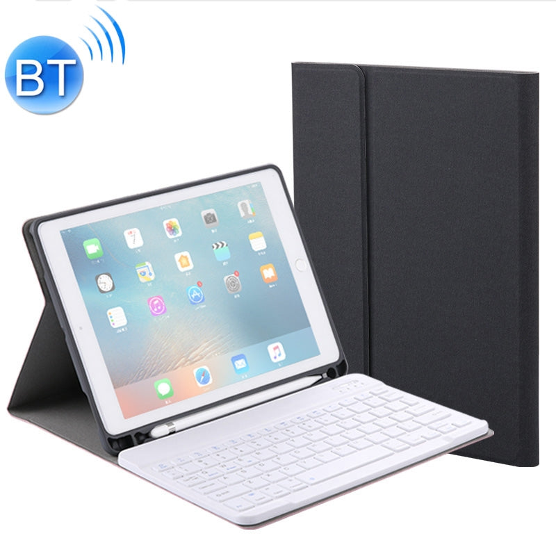 RK508 For iPad Air 2 & Air 1 / Pro 9.7 inch & 2017 iPad & 2018 iPad Silk Texture Detachable Plastic Bluetooth Keyboard Leather Cover with Stand & Pen Slot Function(Black)